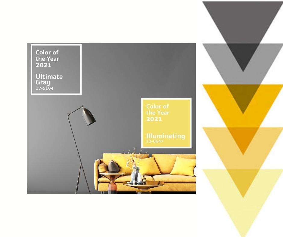 Neutrales Grau und leuchtendes Gelb - die Farben von 2021