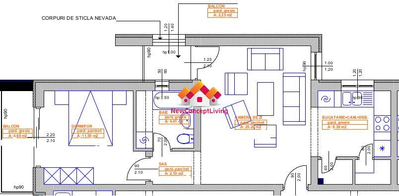 Apartament 2 camere de vanzare in Sibiu - 2 Balcoane + Loc de parcare