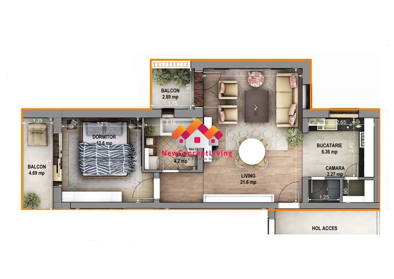 Apartament 2 camere de vanzare in Sibiu - Gradina + Loc de parcare
