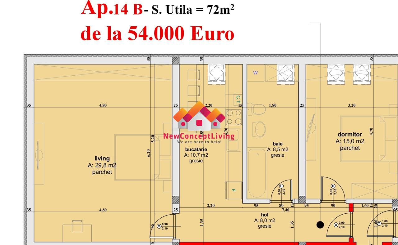 Apartament de vanzare in Sibiu- 2 camere complet decomandat