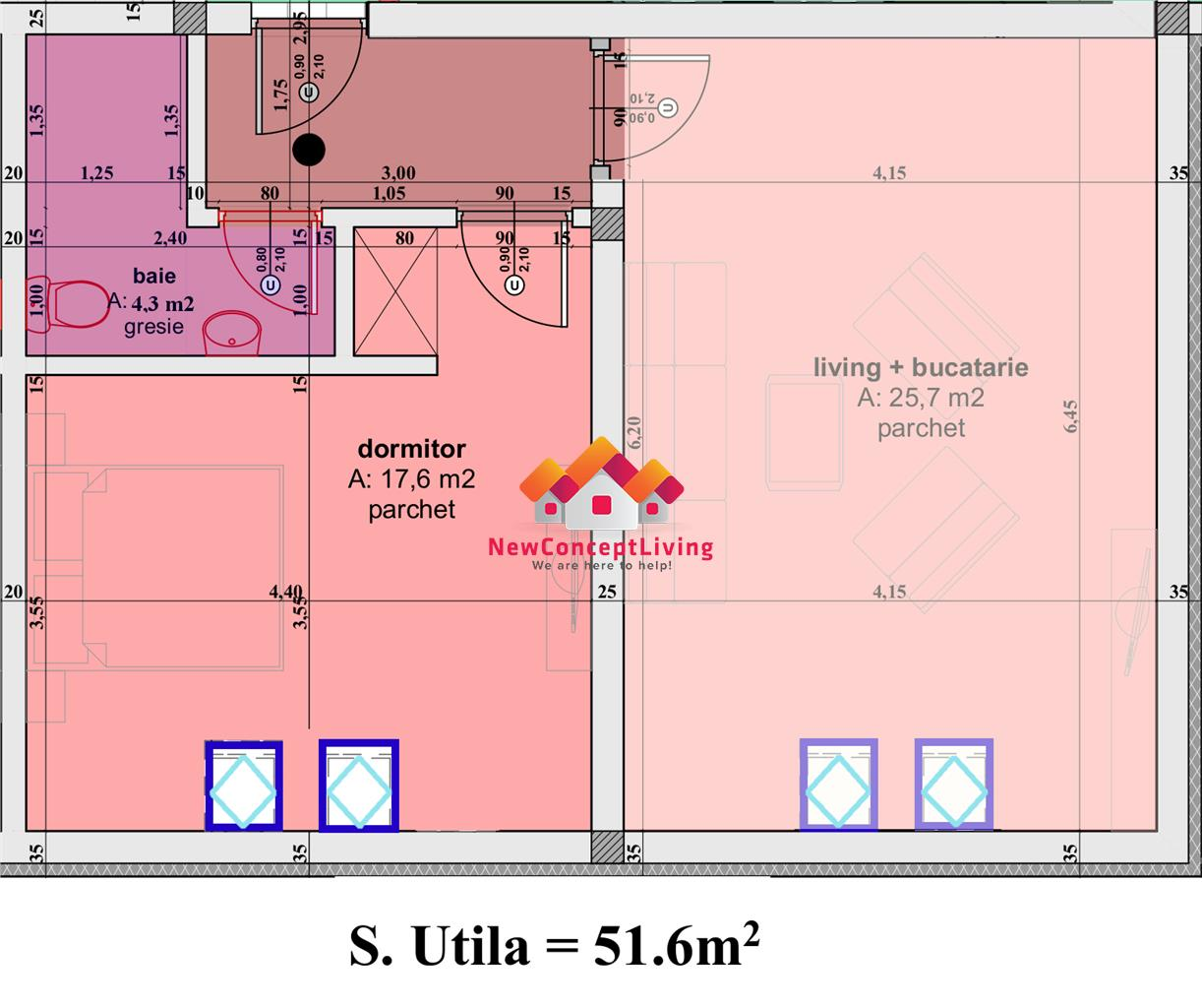 Apartament 2 camere de vanzare in Sibiu - 51.6 mp utili