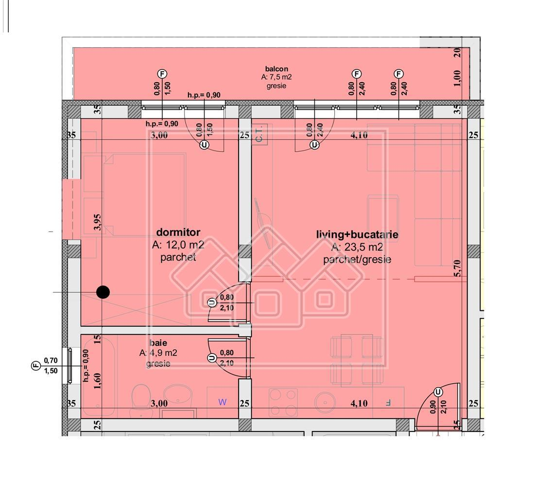 Apartament de vanzare Sibiu - 2 camere -compartimentare practica