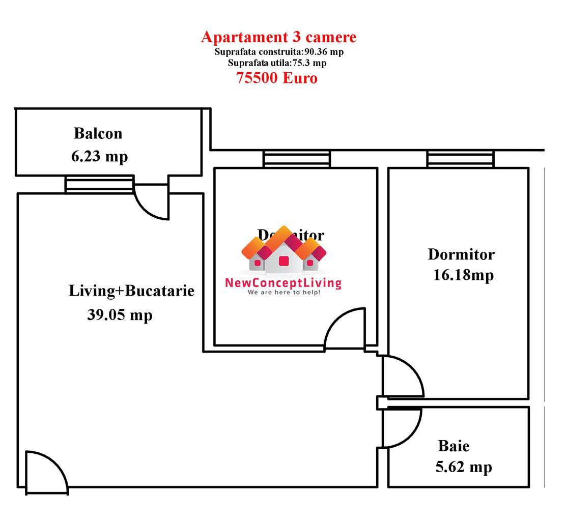 Apartament de vanzare in Sibiu-3 camere-75,30 mp-zona premium