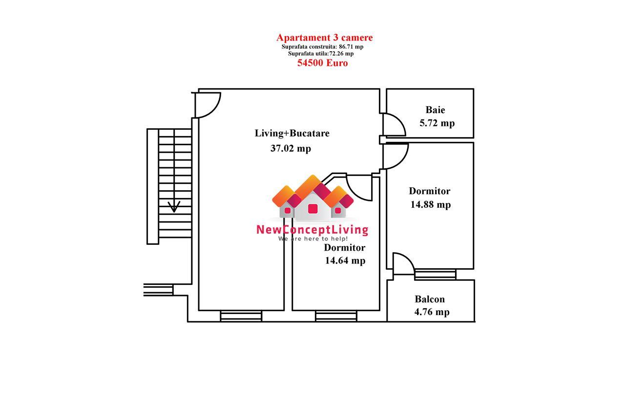 Apartament de vanzare in Sibiu-3 camere-72.26 mp- zona premium