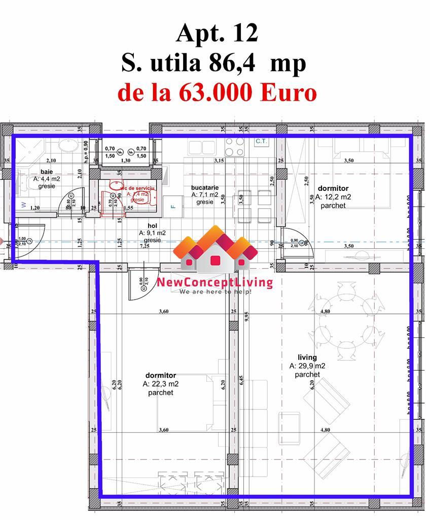 Apartament de vanzare in Sibiu -3 camere  si  bucatarie separata