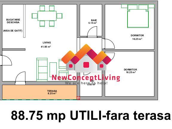 Apartament 3 camere de vanzare in Sibiu- Decomandat - Etaj 1