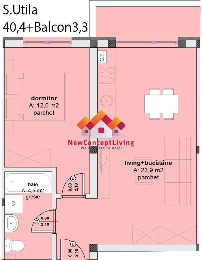Apartament de vanzare in Sibiu - Cisnadie -2 camere- 40.4 mp utili