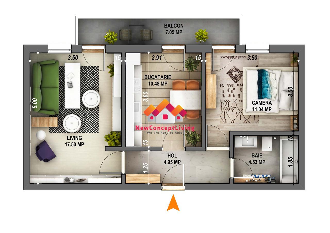 Apartament 2 camere decomandat de vanzare in Sibiu -etaj intermediar
