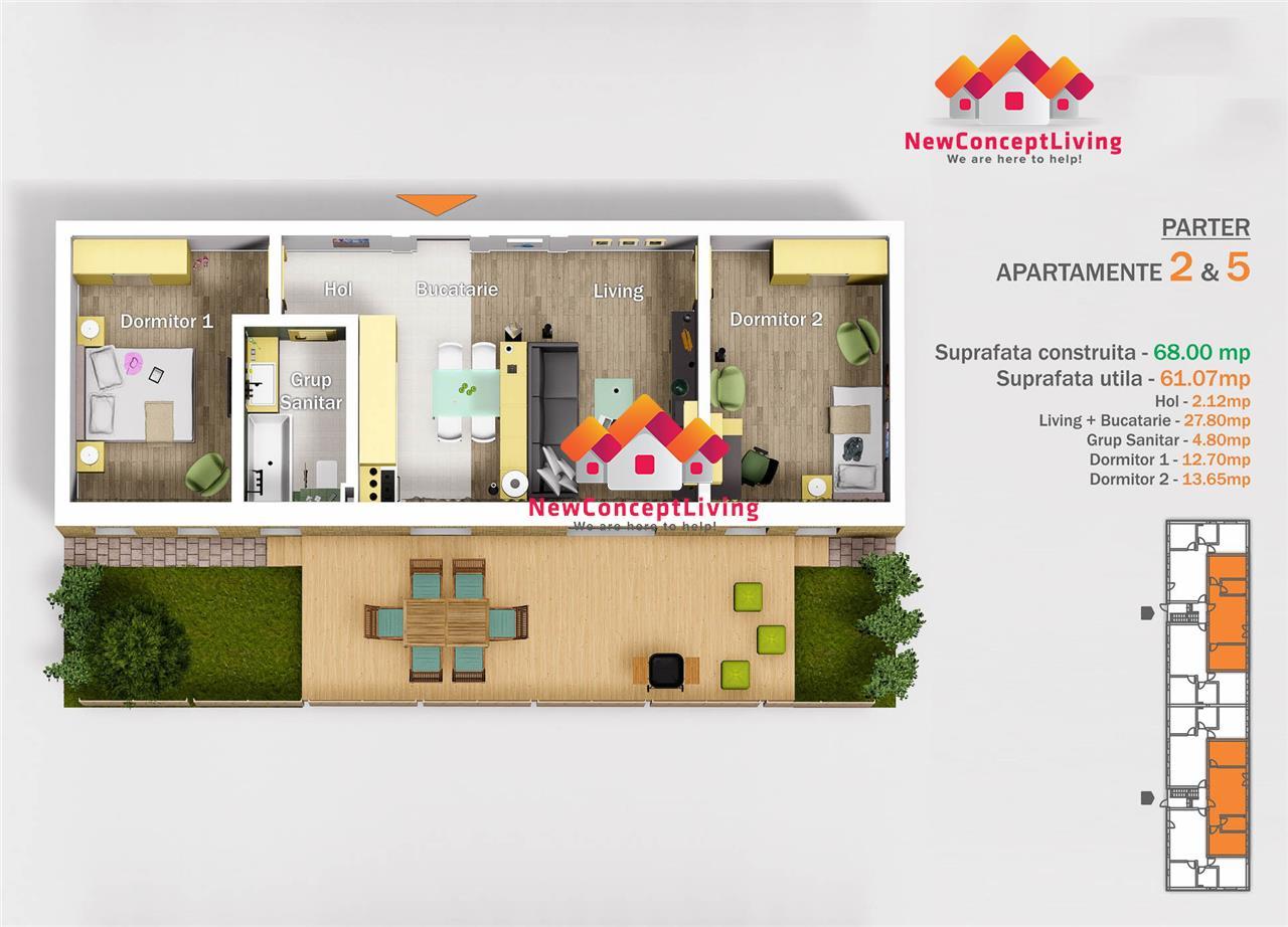 Apartament 3 camere de vânzare în Sibiu - compartimentare practică