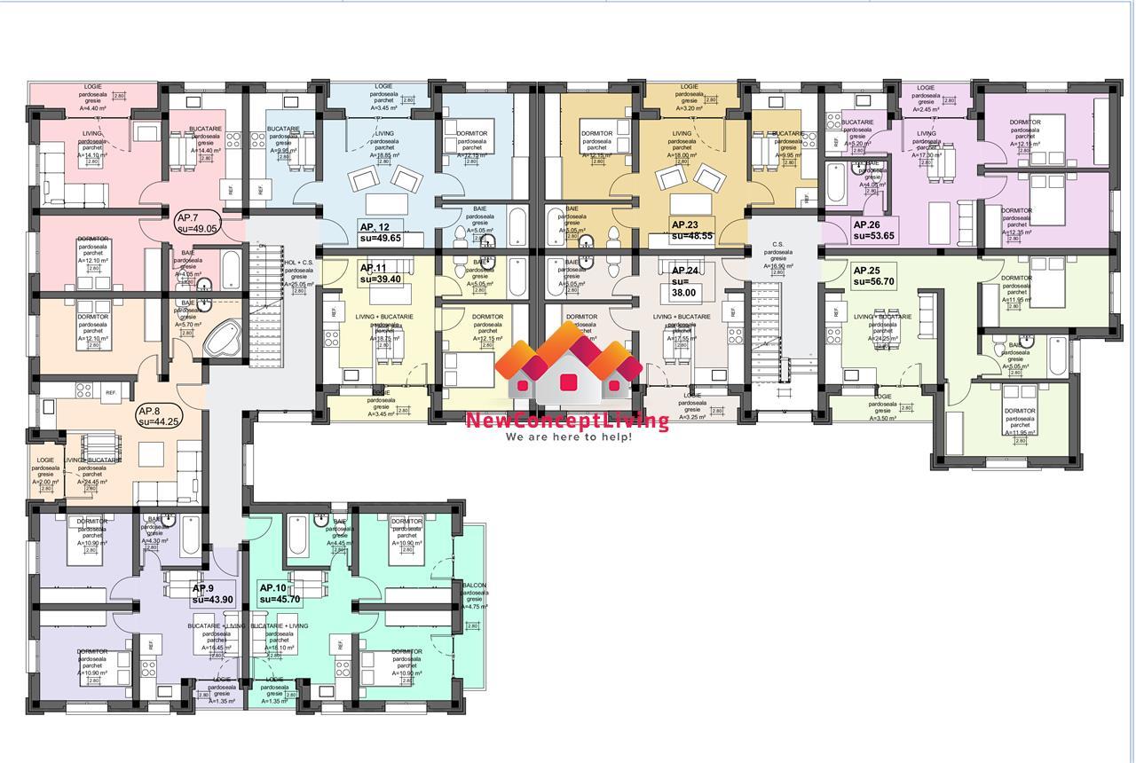 Apartament de vanzare in Sibiu - etaj intermediar- bucatarie separata
