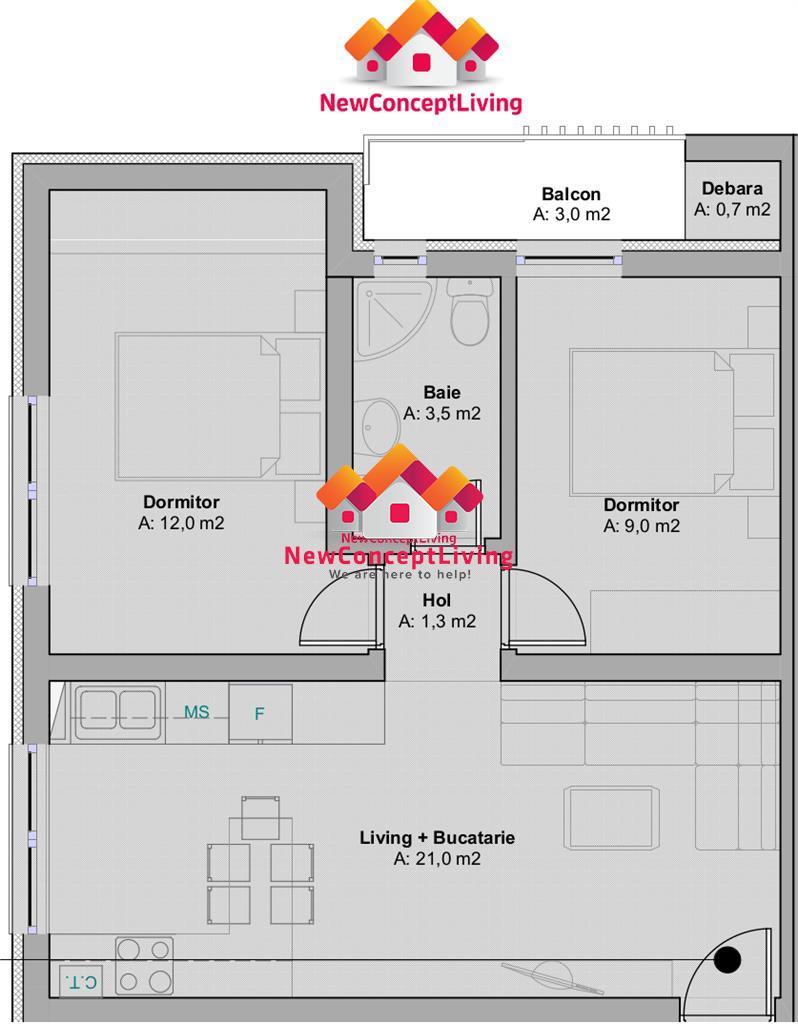 Apartament 3 camere de vanzare - etaj 1 + loc de parcare