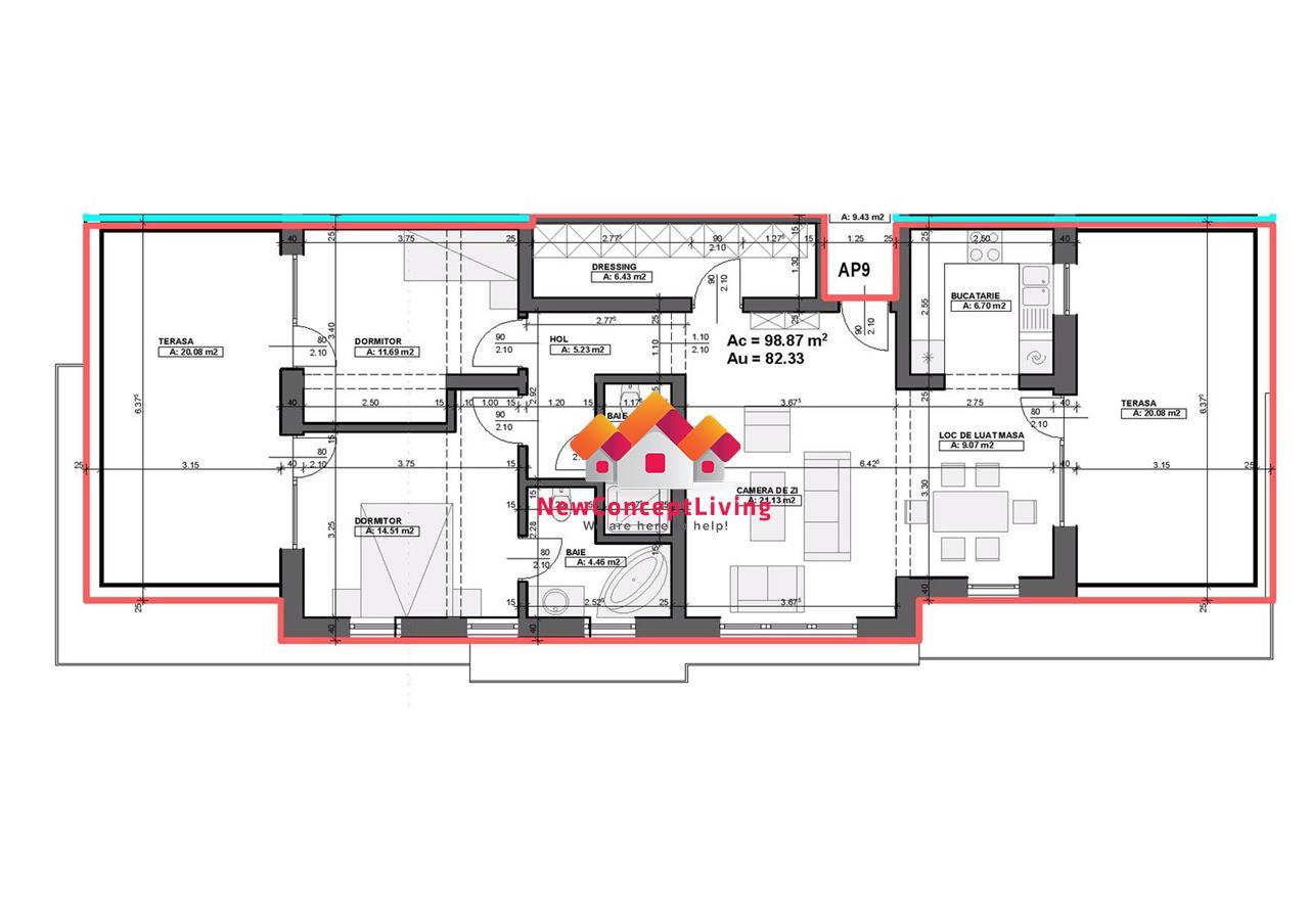 Apartament de vanzare in Sibiu - tip penthouse - 3 camere si 2 terase