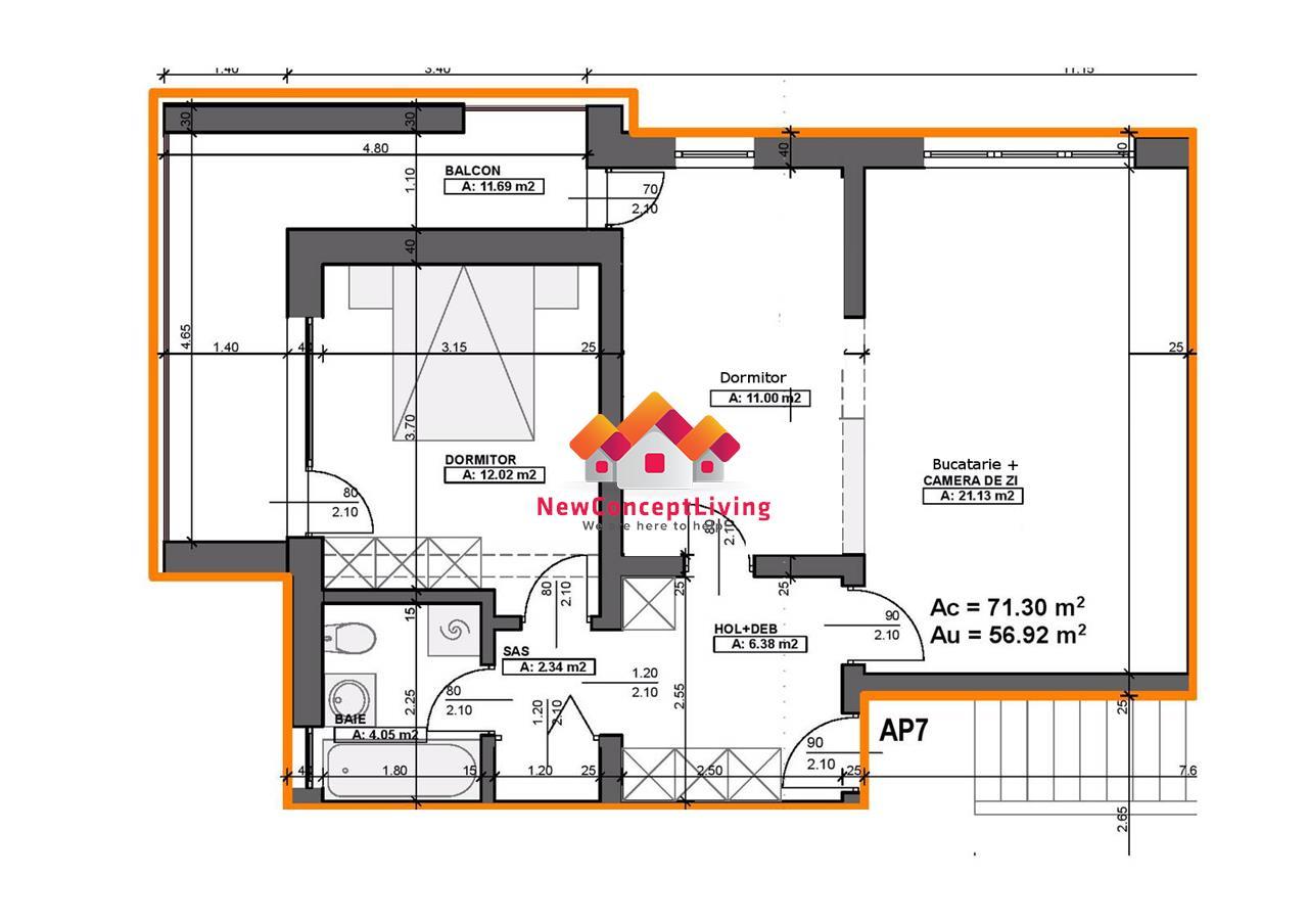 Apartament de vanzare in Sibiu - INTABULAT - etaj intermediar