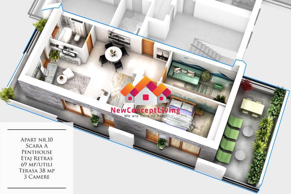 Penthouse - 3 camere de vanzare in Sibiu - La cheie - Terasa de 38 mp