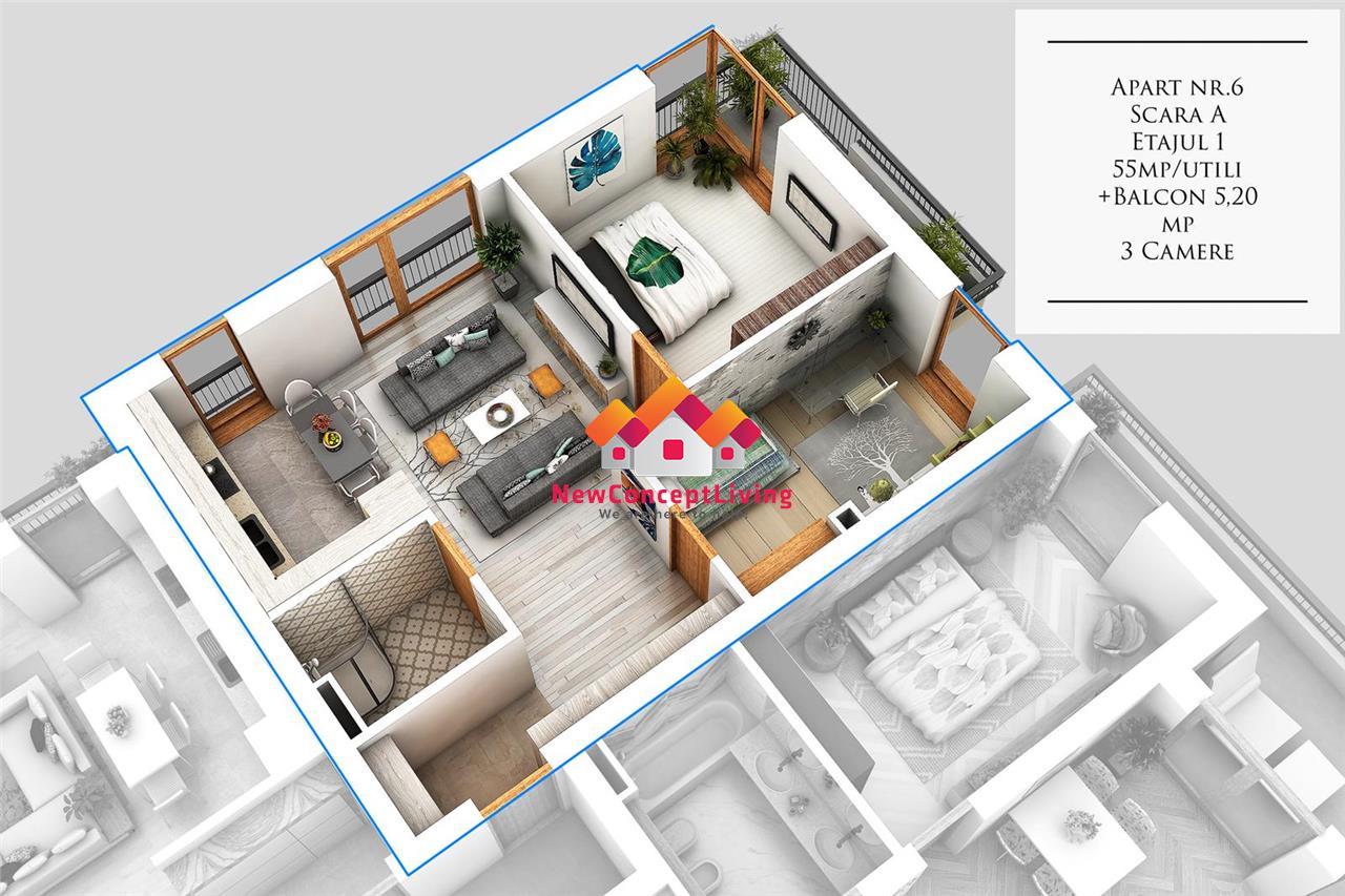 Apartament de vanzare in Sibiu - 3 Camere - La Cheie - Etaj 1 + Balcon