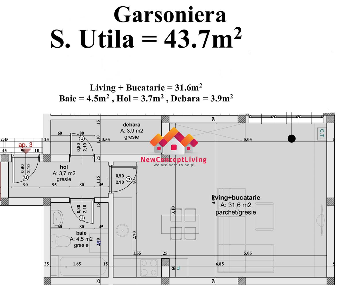 Garsoniera de vanzare in Sibiu, spatioasa - 43.7 mp - pret avantajos