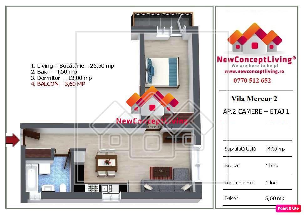 Apartament de vanzare in Sibiu cu 2 camere - etaj 1 - Selimbar
