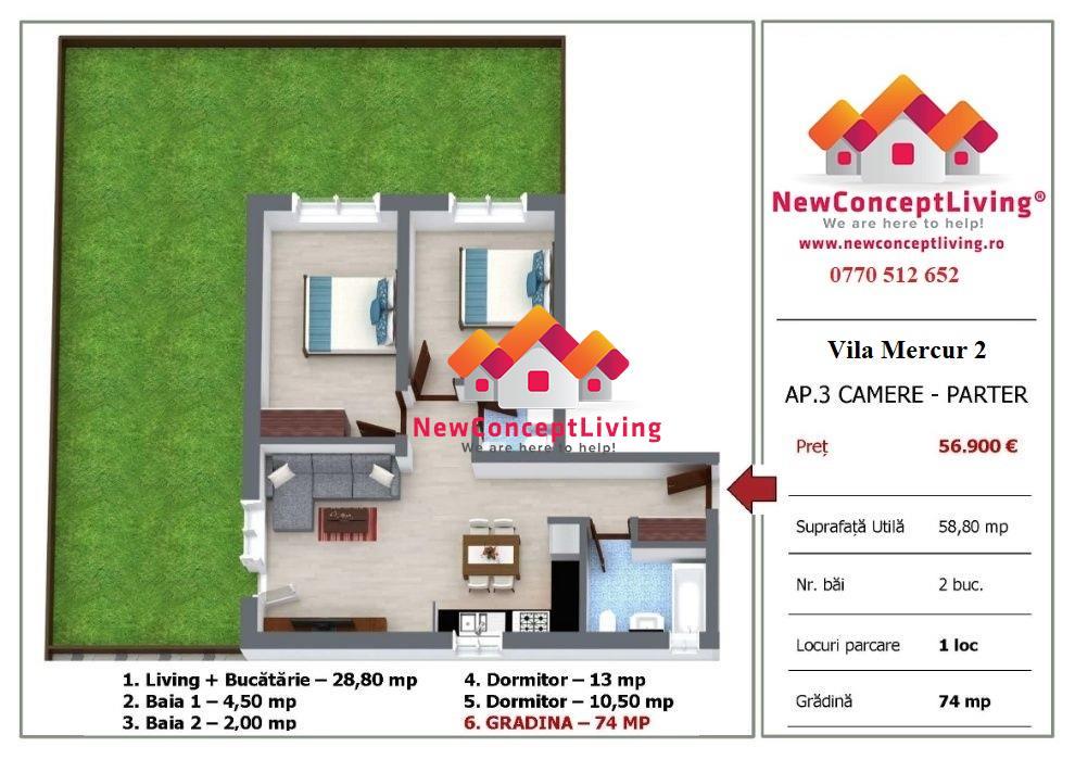 Apartament cu 3 camere de vanzare in Sibiu + gradina - Selimbar