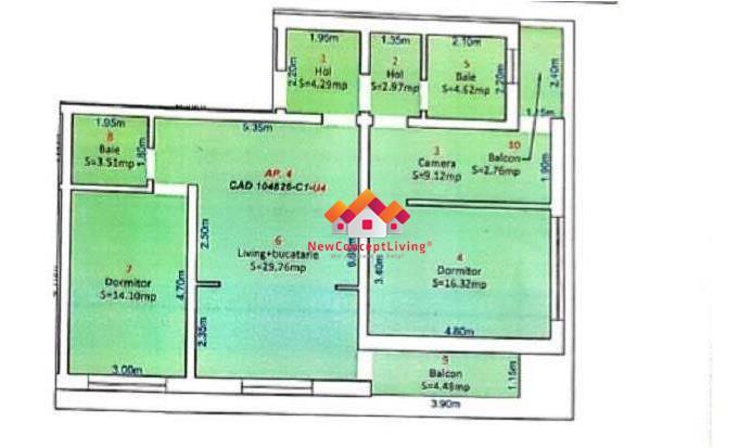 Apartament de vanzare in Sibiu, 3 camere + 2 balcoane