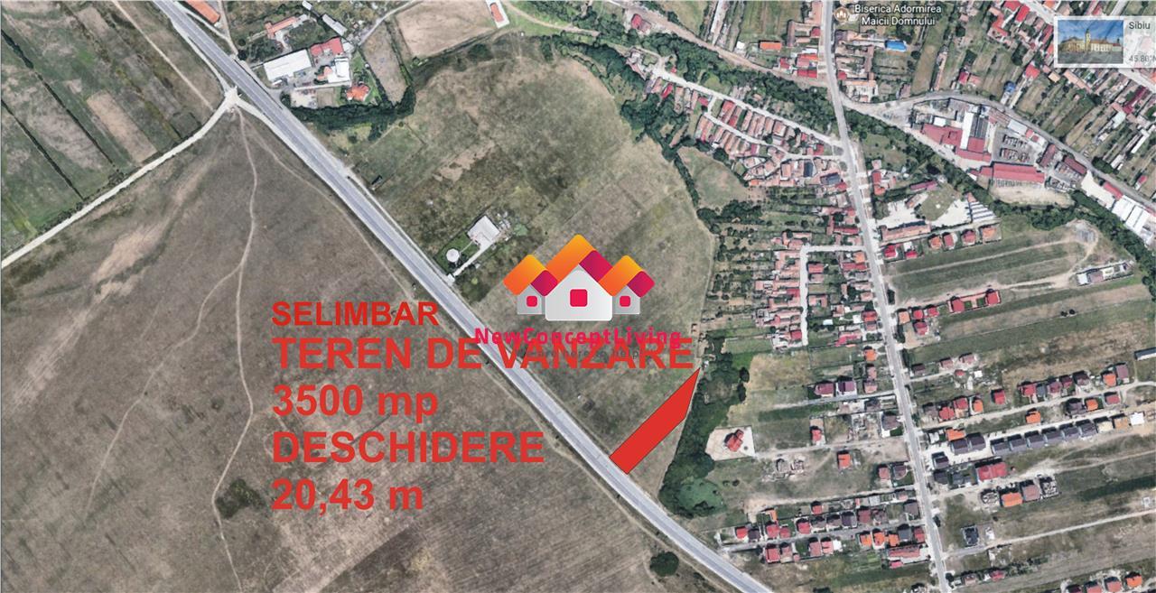 Teren de vanzare in Sibiu - 3.500 mp- DN1 Selimbar
