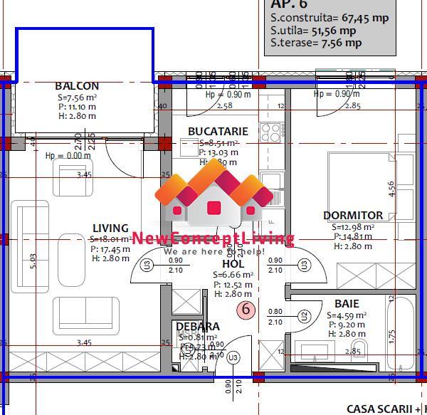Apartament de vanzare in Sibiu 2 camere - Etaj 1 cu Terasa si Parcare