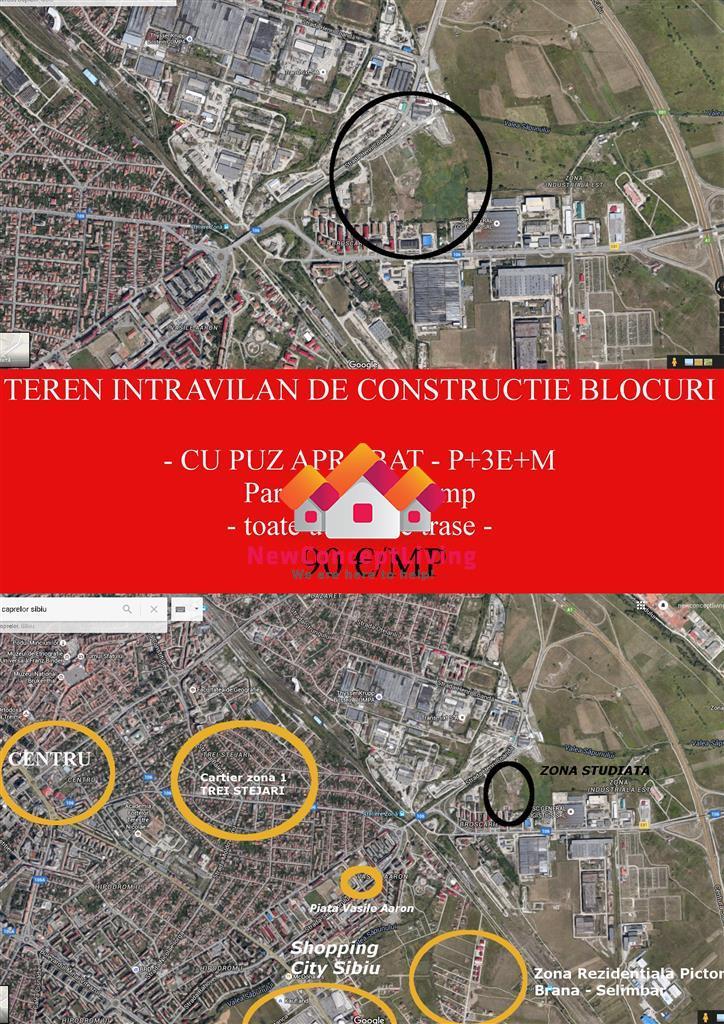 Teren de blocuri-PUZ aprobat-utilitati trase-loturi de 2000 mp