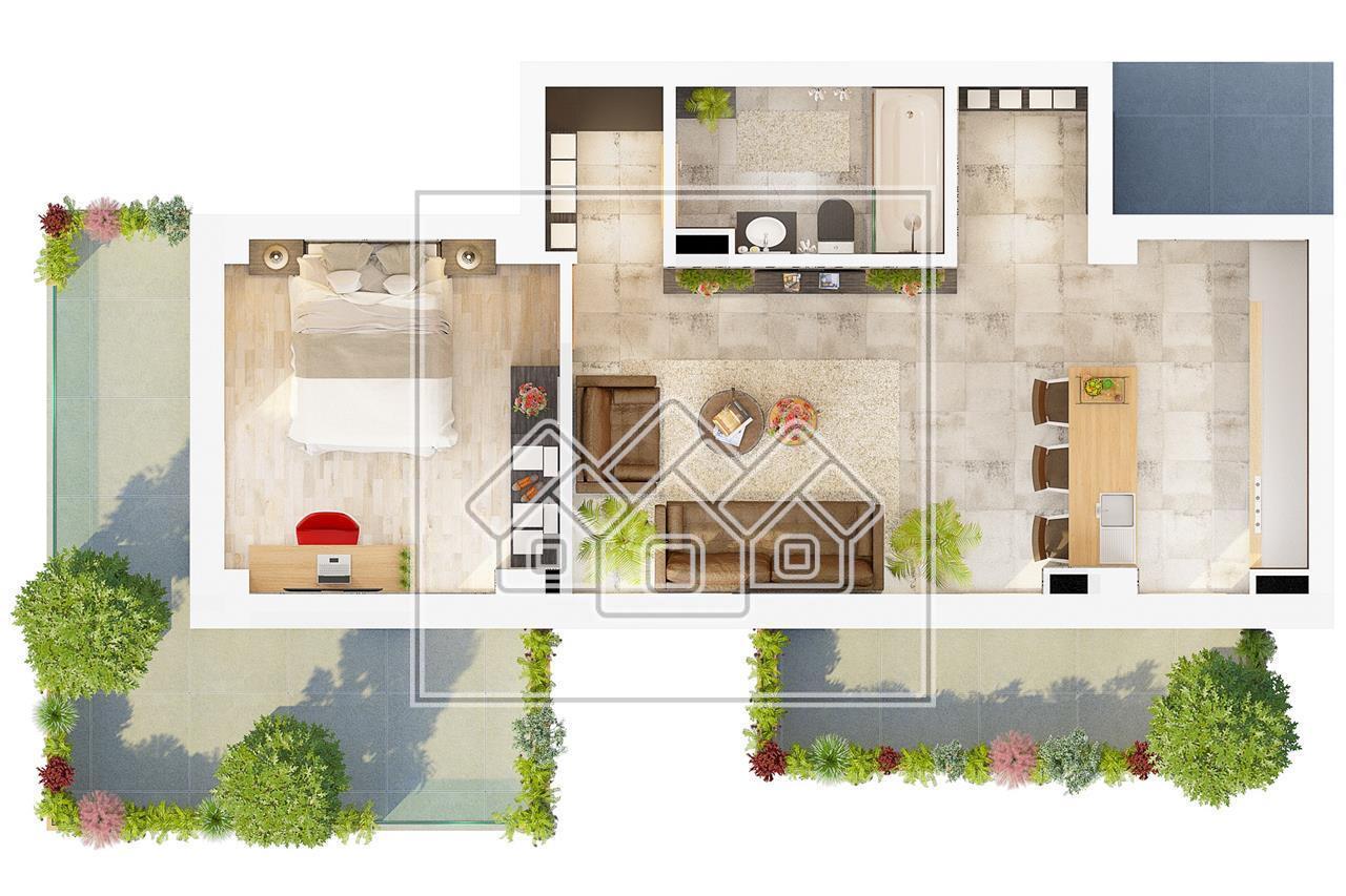 Apartament de vanzare in Sibiu 2 camere si 2 terase insorite