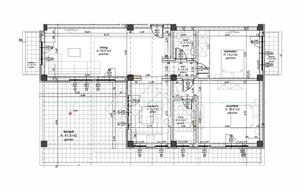 Penthouse de vanzare in Sibiu - 3 camere,2 balcoane,terasa generoasa