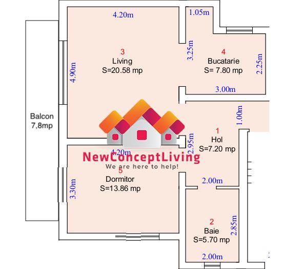 Apartament 2 camere de vanzare in Sibiu, curte privata, etaj 2