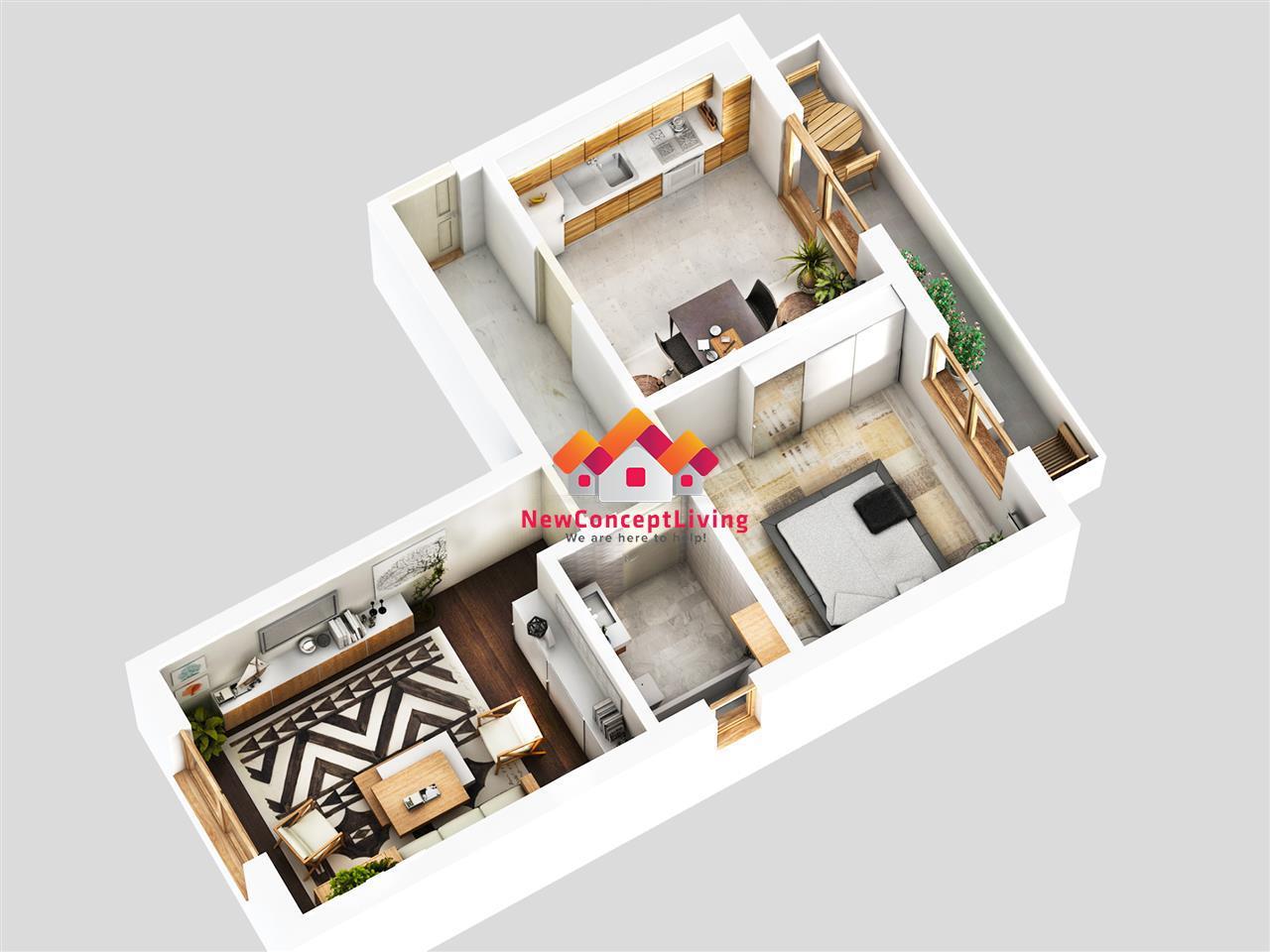 Apartament 2 camere de vanzare in Sibiu-bucatarie separata-decomandat