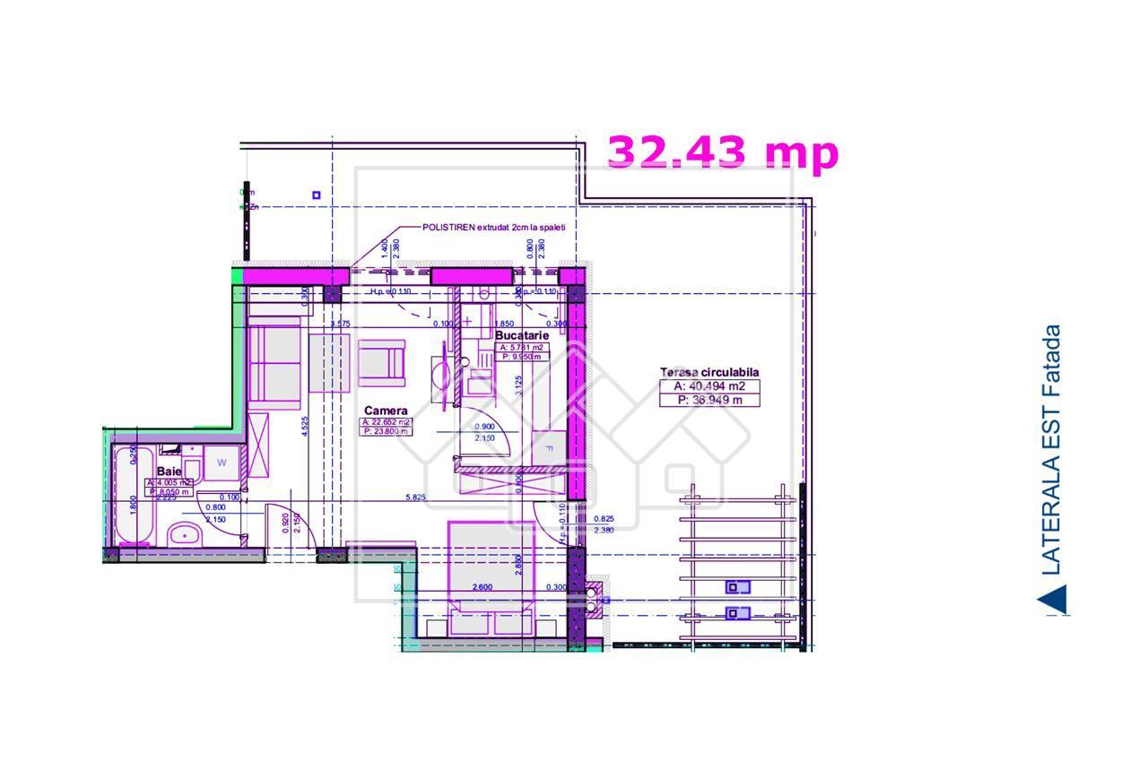 Garsoniera de vanzare in Sibiu - terasa de 40 mp - imobil nou cu lift