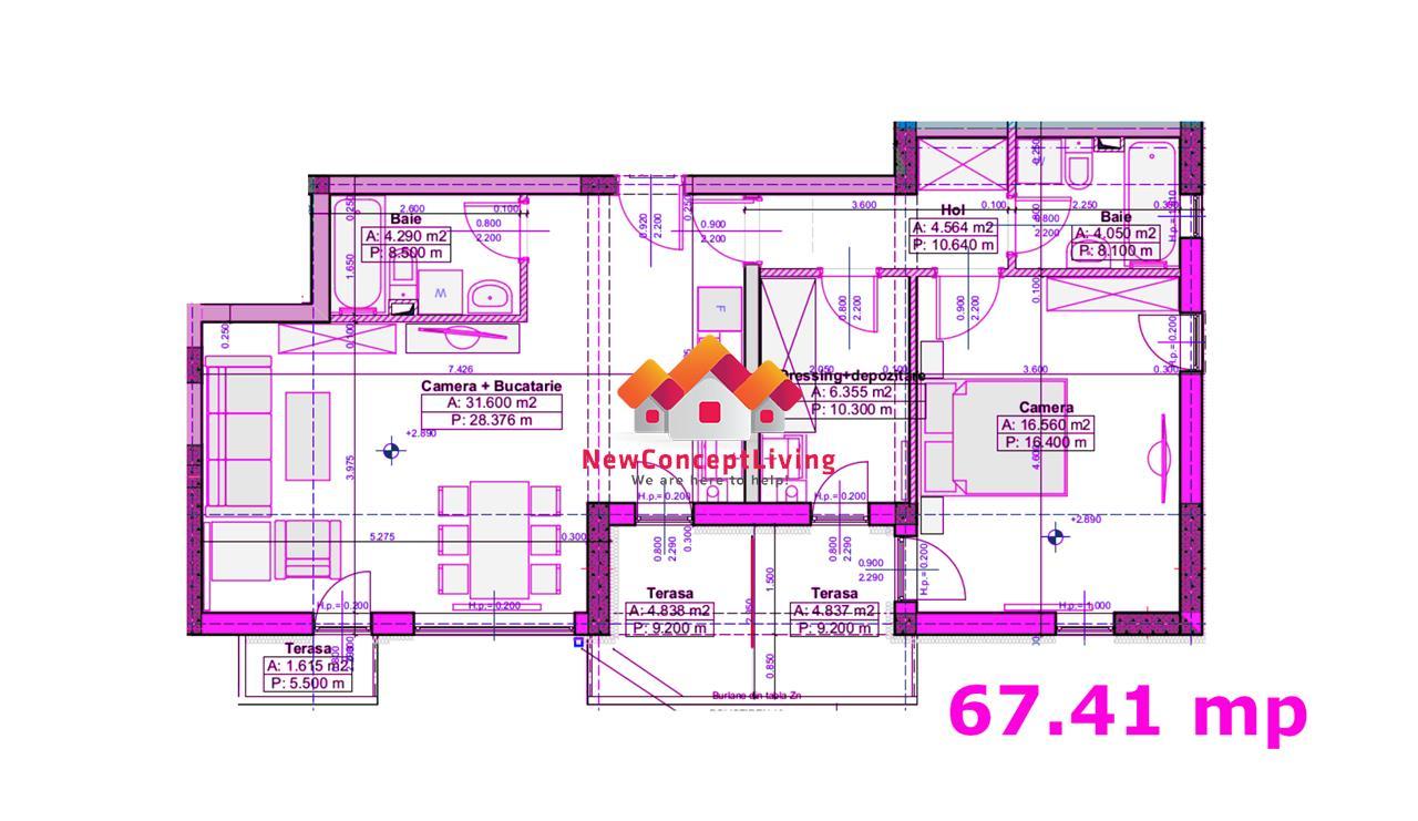 Wohnung besteht aus 2 Zimmer