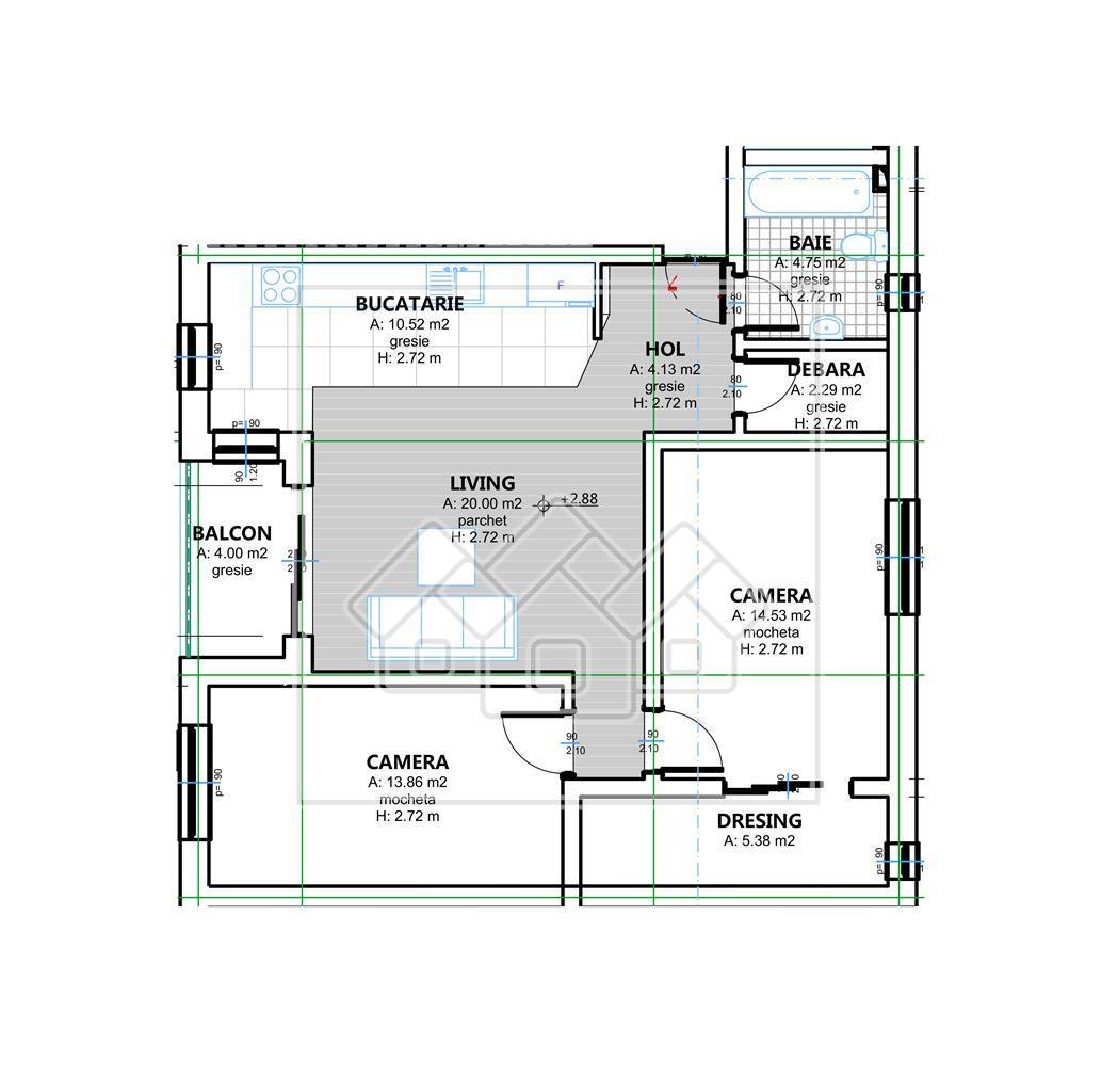 Apartament 3 camere de vanzare in Sibiu - Selimbar - mobilat si utilat