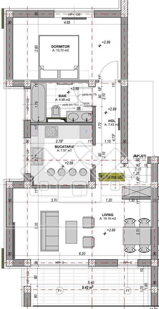 Apartament 2 camere de vanzare in Sibiu - 52,89 mp + logie de 9.42 mp