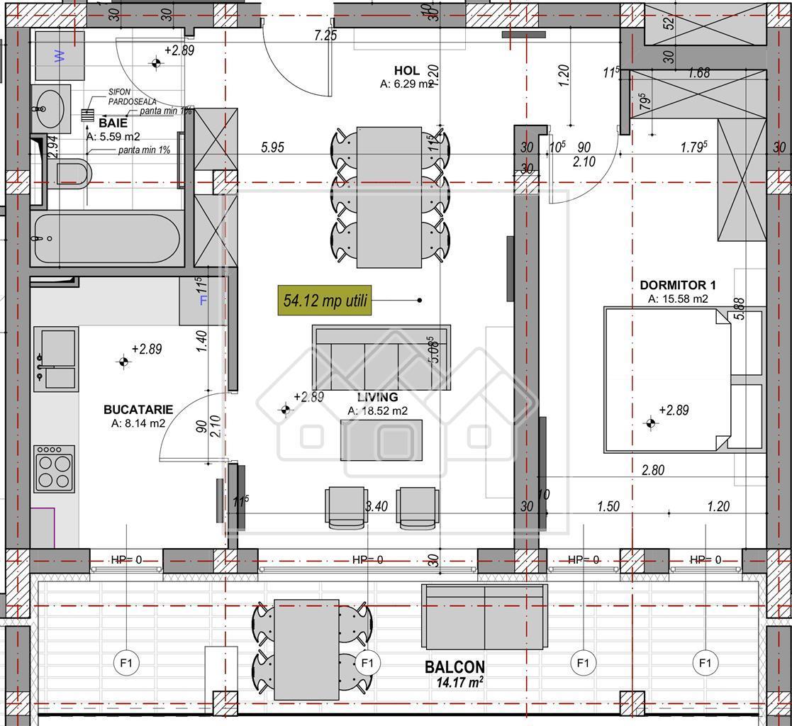 Apartament 2 camere de vanzare in Sibiu -54.12 mp + logie de 14.17mp