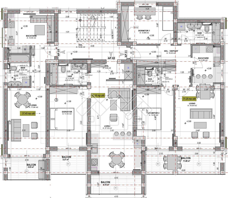 Apartament de vanzare in Sibiu-2 cam -S.utila 52.16mp+logii de 11.42mp