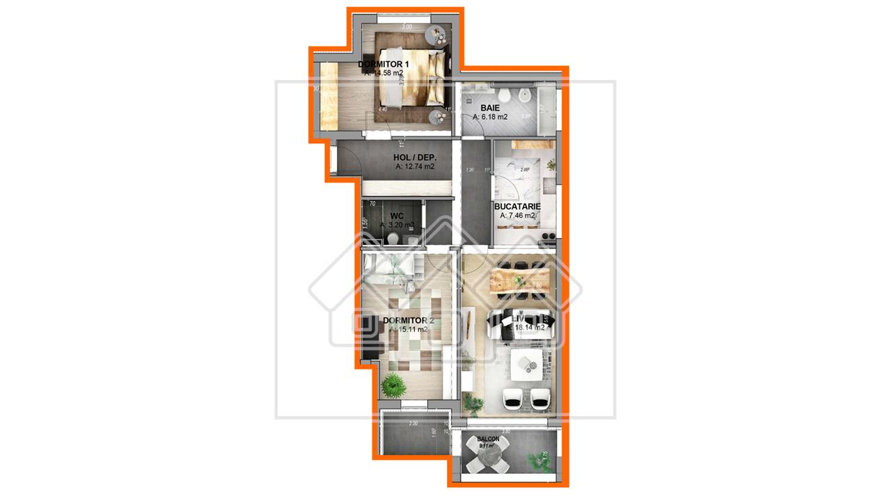 Apartament 3 camere - decomandat - stil arhitectural unitar -Mona Lisa