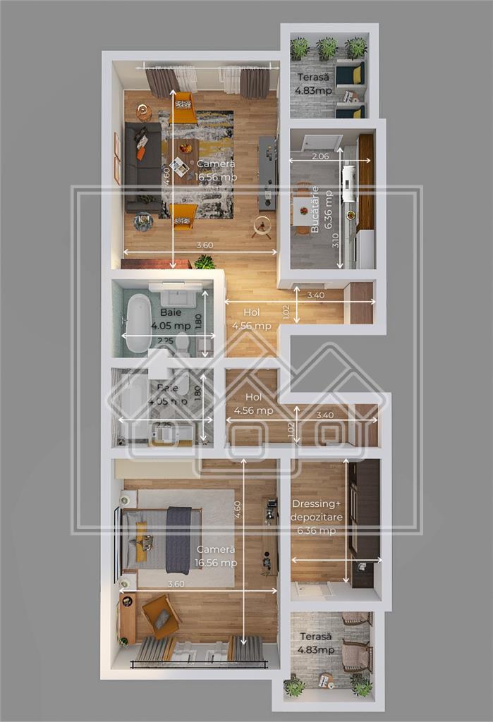 Wohnung besteht aus 2 Zimmer - v?llig freistehend - Zwischengeschoss