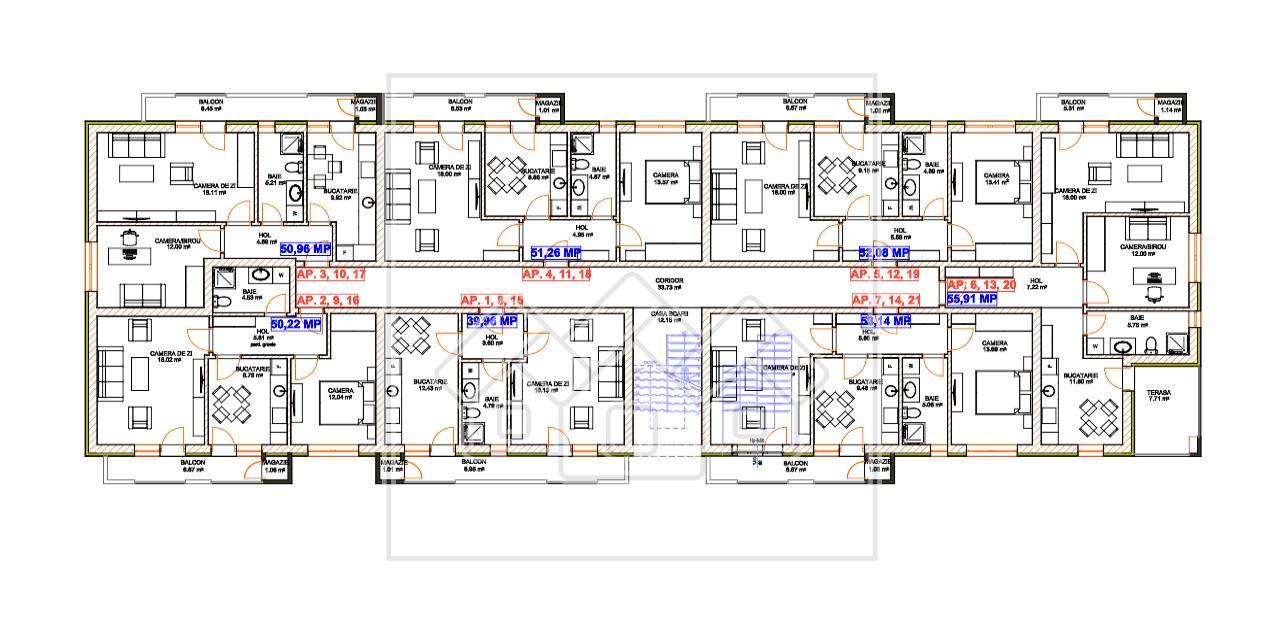 Apartament 2 camere de vanzare in Sibiu - decomandat - 2 balcoane