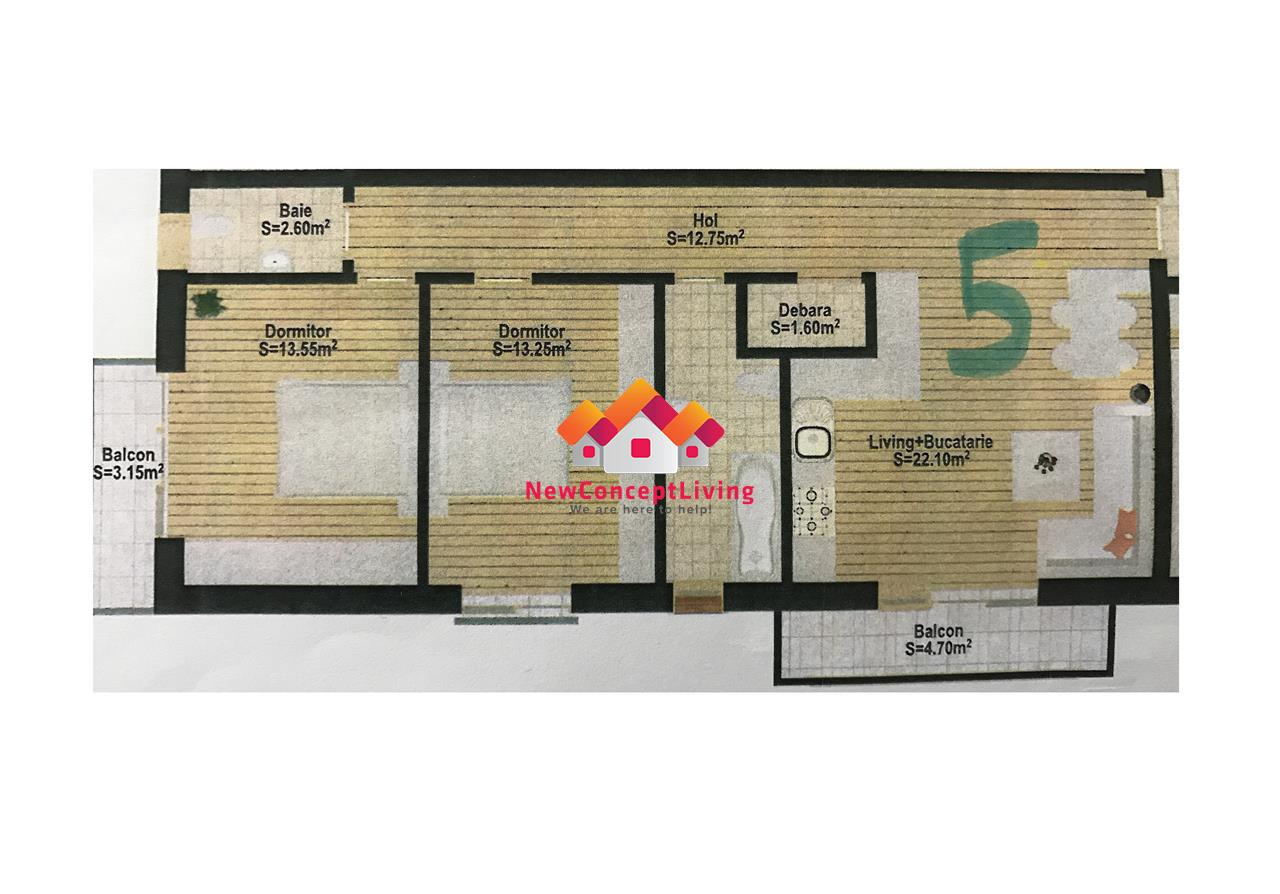 Apartament 3 camere de vanzare Sibiu -100 mp Gradina si LOC DE PARCARE