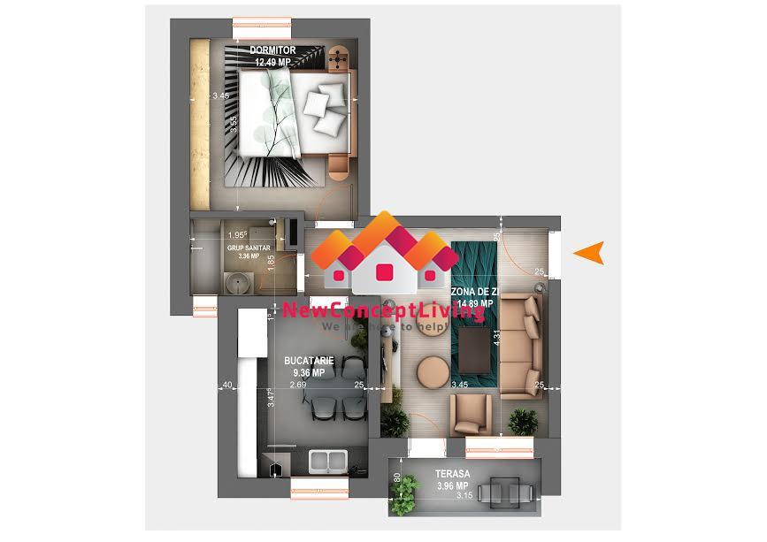 Apartament de vanzare in Sibiu - 2 camere - 42 mp utili