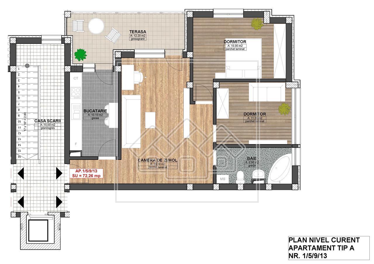 Apartament de vanzare Sibiu - finisat la cheie - zona Piata Cluj