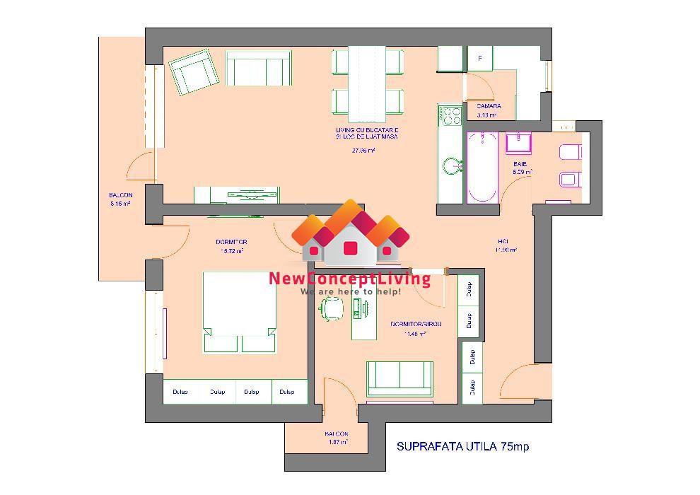 Apartament 3 camere de vanzare in Sibiu - Mobilat si Utilat
