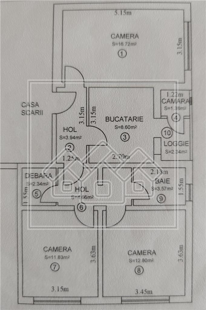Apartament 3 camere de vanzare - Vasile Aaron, etaj 2, pivnita, garaj
