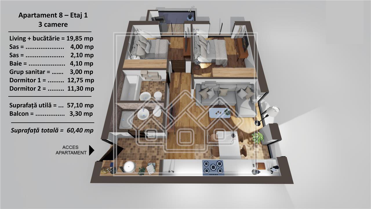 Apartament 3 camere de vanzare in Sibiu - etaj intermediar - lift