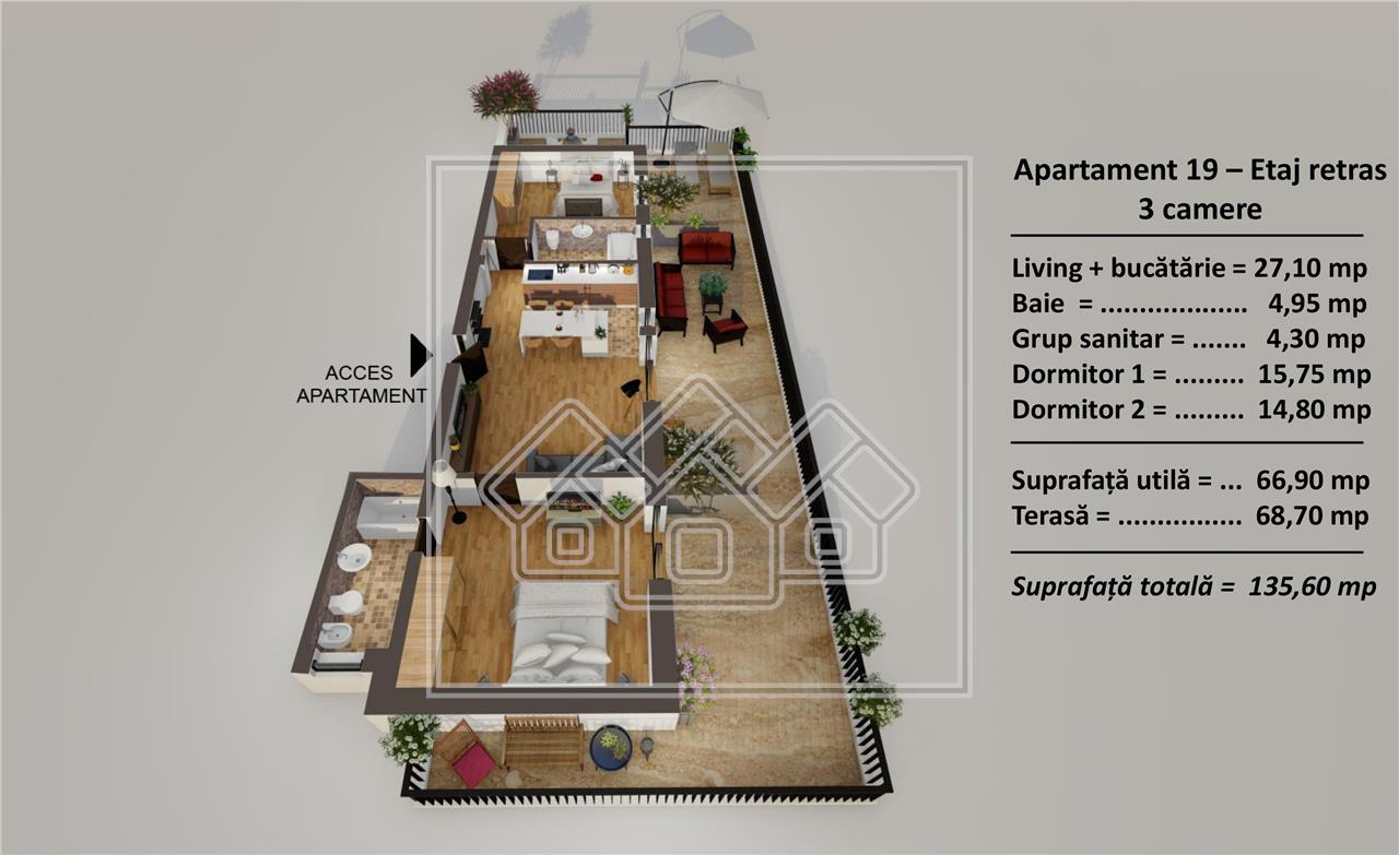 Penthouse de vanzare in Sibiu - terasa 69 mp - ift - parcare subterana