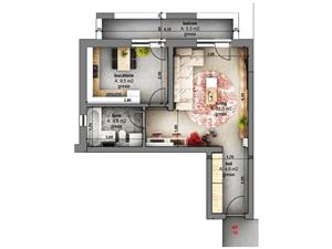 Apartment 1 room for sale Sibiu-Optimus Maxi-separate kitchen
