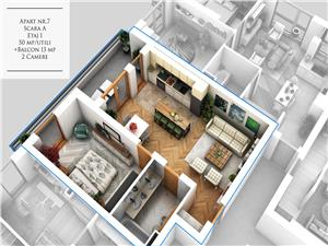Apartament 2 camere de vanzare in Sibiu - La Cheie - Etaj 1 - Balcon