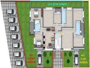 Apartament 3 camere de vanzare in Sibiu + gradina 108