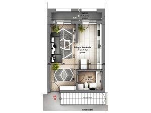 Apartament de vanzare - 1 camera, cu balcon, Pictor Brana